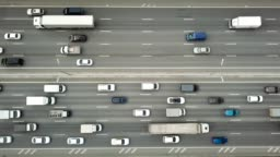 Aerial Top Down View of Traffic Jam on a Highway
