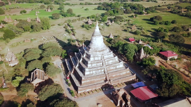 Aerial: Top of Temple Out to the Surrounding Land