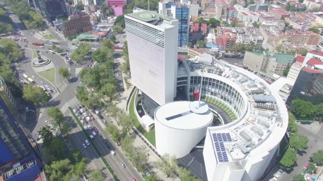 Aerial top of view of one side of the Senado de la Republica in Reforma Avenue, Mexico City
