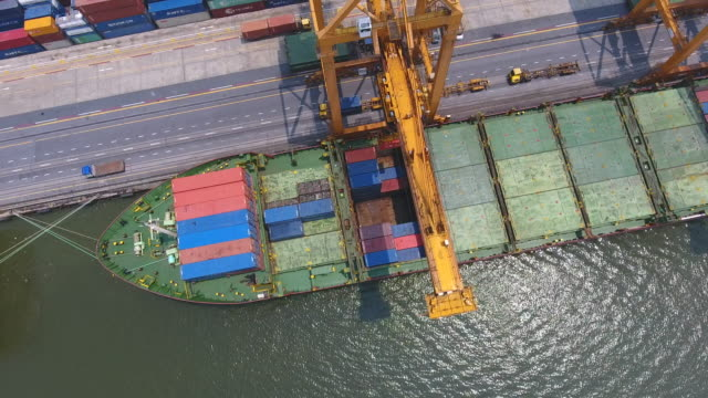 Aerial Top Video of Commercial Port with Containers Ship, Bangkok, Thailand.