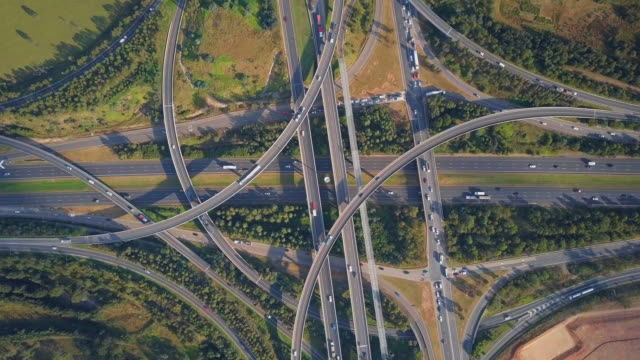 vidéos et rushes de aerial top view: busy highway overpass among lush green, eastern australia, australia - haut