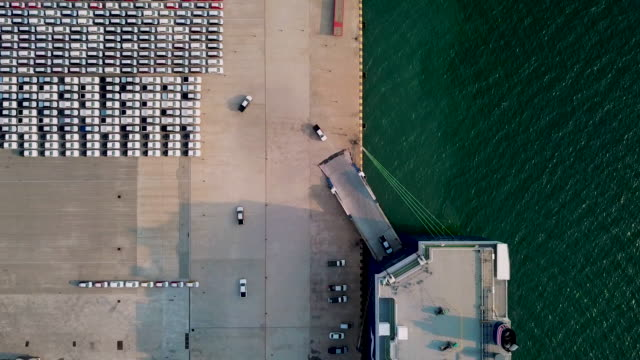 aerial top view car or vehicle carrier vessel loading car for shipping to worldwide. - construction machinery stock videos & royalty-free footage