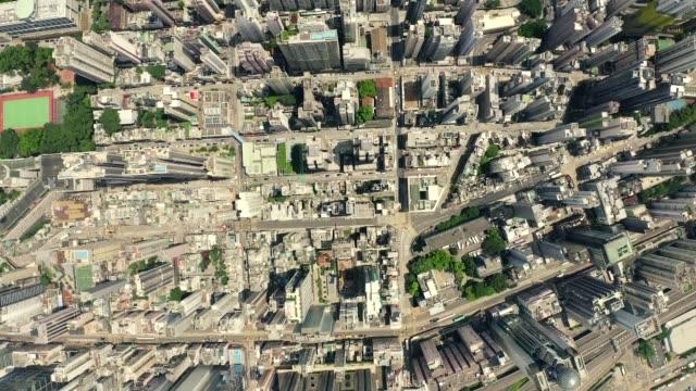 stockvideo's en b-roll-footage met aerial top view drone 4k footage of modern skyscrapers in hong kong city. - hong kong