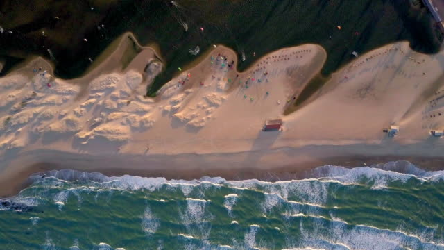 Aerial Top View: Kiteboarding on Amazing Beach, Cumbuco, Brazil