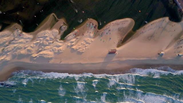 Aerial Top View: Kiteboarding on Amazing Beach, Cumbuco, Brazil