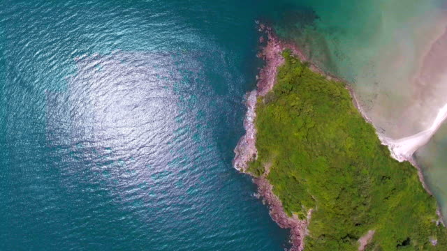 Aerial top view of Beautiful Tropical Beach with White Sand