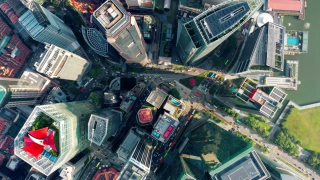 aerial top view of financial central business district building of singapore city at day - singapore stock videos & royalty-free footage