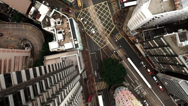 aerial top view of hong kong transportation - hong kong stock videos & royalty-free footage