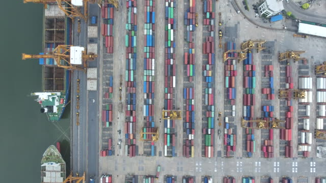 aerial top view of industrial port with containers ship, bangkok, thailand - crate stock videos & royalty-free footage