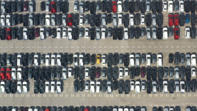 aerial top view of new cars lined up at industrial port. - せり売り点の映像素材/bロール