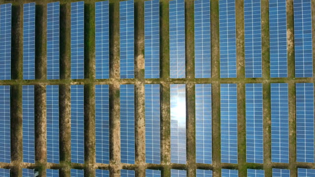 aerial top view of solar farm with sunlight, renewable energy, solar energy - farm stock videos & royalty-free footage