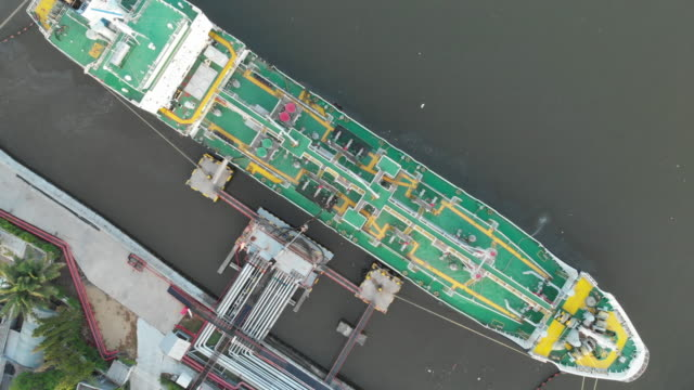 aerial top view of tanker ship in sea - loading stock videos & royalty-free footage