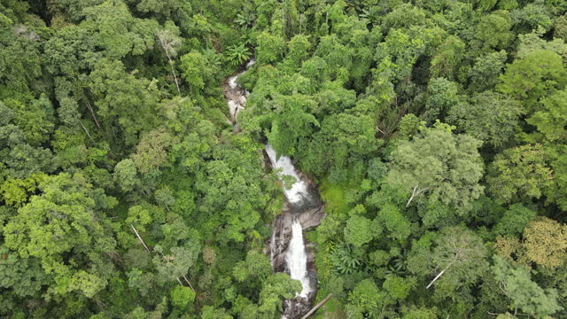 aerial top view of waterfall in the tropical - lagoon stock videos & royalty-free footage