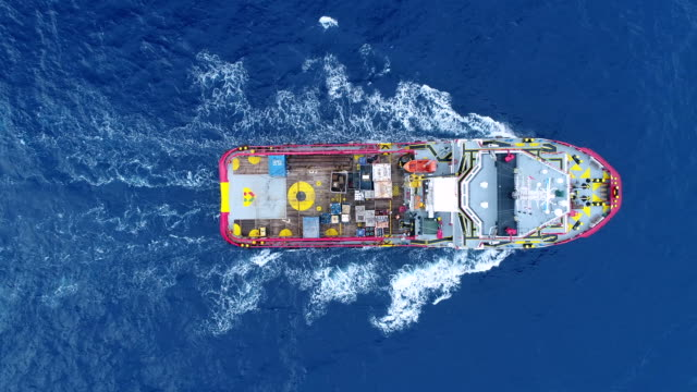 aerial top view ship on the sea for transportation fuel and power concept - refinery stock videos & royalty-free footage
