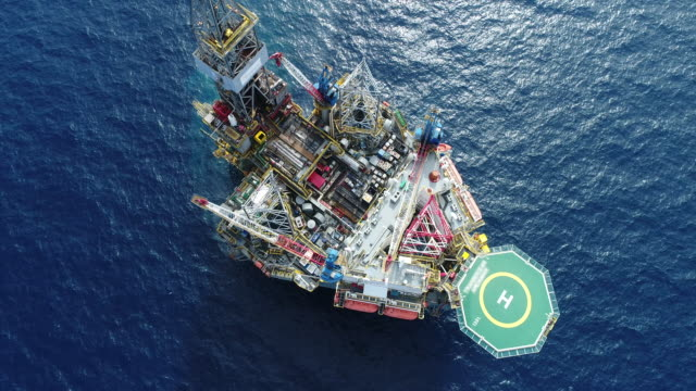 aerial top view ship on the sea for transportation fuel and power concept - storage compartment stock videos & royalty-free footage