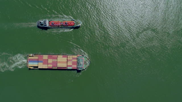vídeos y material grabado en eventos de stock de aerial top view small container cargo ship and oil ship taker carrier product on the sea for logistics business , shipping , import export or transportation. - dos objetos