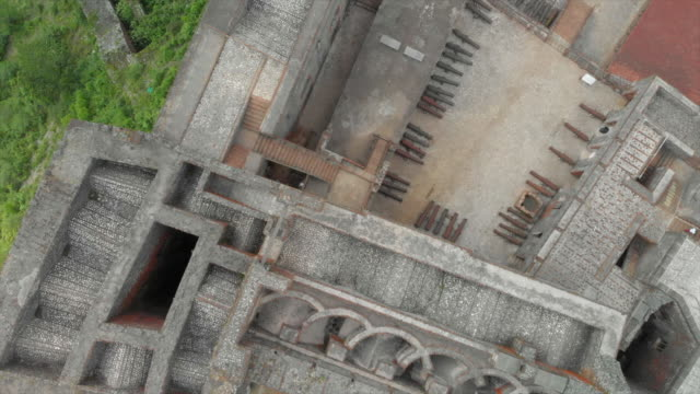 aerial top view spinning: strong architecture of citadel laferriere castle - grey colour stock videos & royalty-free footage