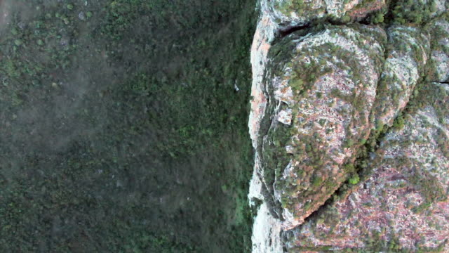 aerial top view: vertical cliff wall over lush green valley in chapada, brazil - top garment stock videos & royalty-free footage