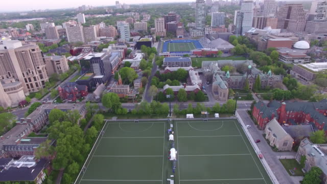 4K Aerial Toronto: Fly over Downtown Campus of University of Toronto