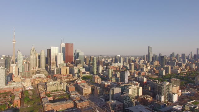 4k aerial toronto: skyline pan down - toronto stock videos & royalty-free footage