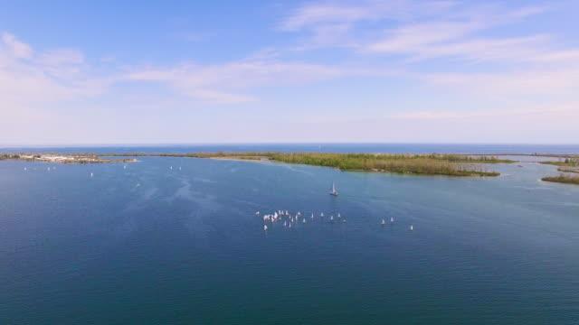 4K Aerial Toronto: Yachts in Lake Ontario
