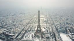 Aerial Tour Eiffel, Paris under snow.