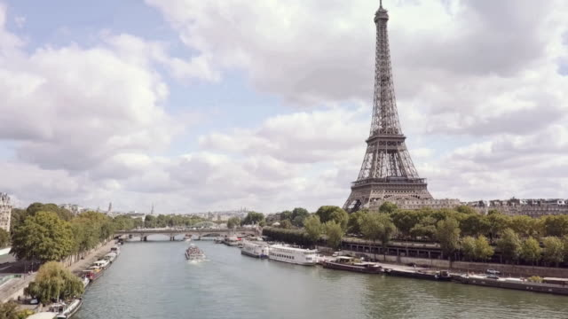 aerial tour eiffel paris - river seine stock videos & royalty-free footage