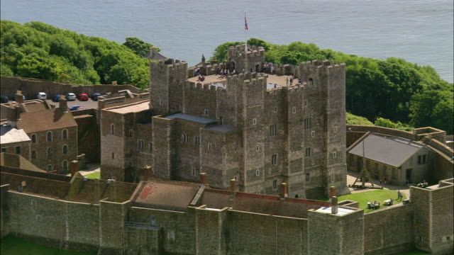 Aerial tourists on top of Dover Castle / Kent, England