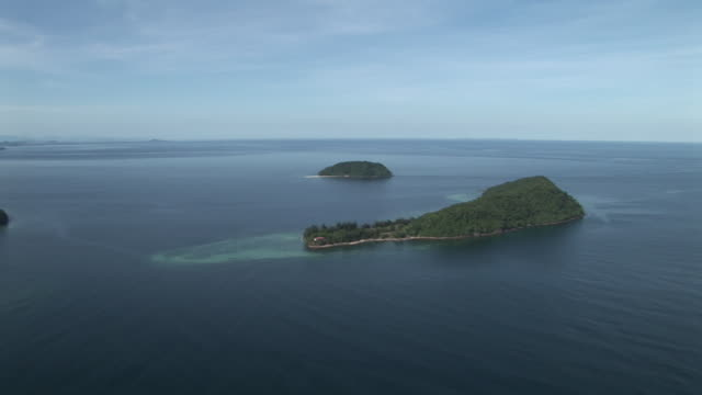 Aerial towards islands of Tunku Abdul Rahman Park, Kota Kinabalu, Malaysia