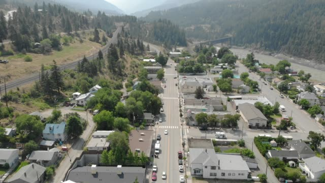 aerial town of lytton, bc - canada stock videos & royalty-free footage