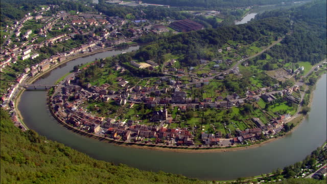 Aerial WS Town of Montherme on Meuse River / Montherme, Ardennes, France