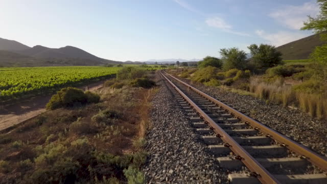 aerial track down rail track - railway track stock videos & royalty-free footage