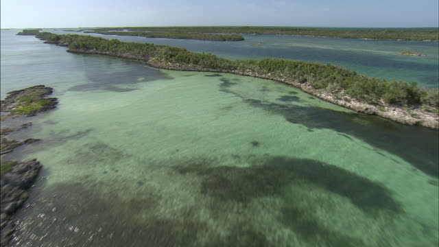 aerial track over bahaman island and shallow reefs - sea channel stock videos & royalty-free footage