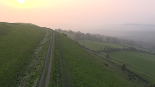 Aerial track over country lane, farmland and rolling hills, Dorset, England