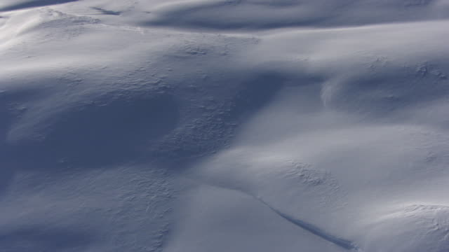 aerial track over deep snow on ground, yellowstone, usa - track imprint stock videos and b-roll footage