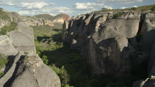 vídeos de stock, filmes e b-roll de aerial track over rocky gorge. - américa do sul