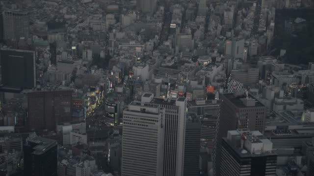 Aerial track over Tokyo at dusk, Japan.
