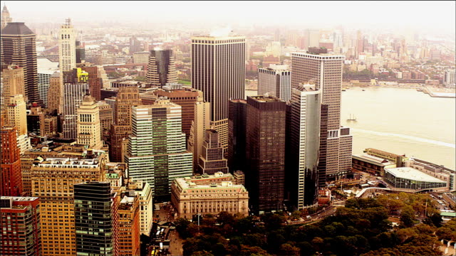 aerial track up the south west side of manhattan island, new york. foggy day. - money politics stock videos & royalty-free footage