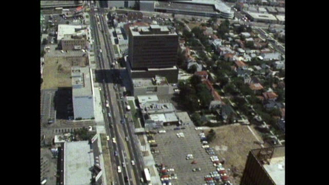 aerial tracking shot of los angeles cityscape; 1972 - city of los angeles stock videos & royalty-free footage