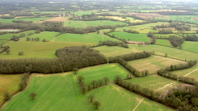 aerial tracking shot over various countryside fields and farmland on 21st february 2018 eastbourne, england. - grazing stock videos & royalty-free footage