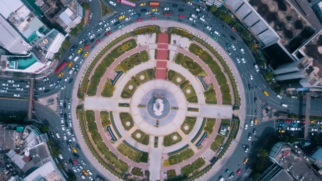 Aerial Traffic circle direct above