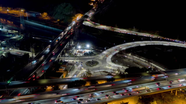 aerial traffic circle timelapse - motorway stock videos & royalty-free footage