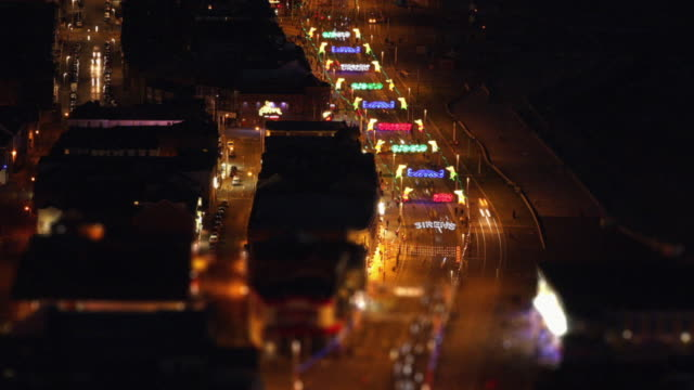 aerial traffic time-lapse night - blackpool stock-videos und b-roll-filmmaterial