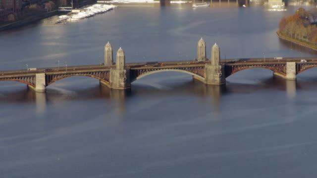 Aerial Train crossing Longfellow Bridge in Boston