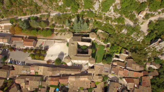 Aerial travel drone view of Balazuc, Southern France.