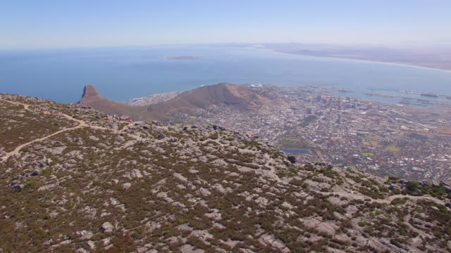 Aerial travel drone view of Cape Town from the top of Table Mountain, South Africa.