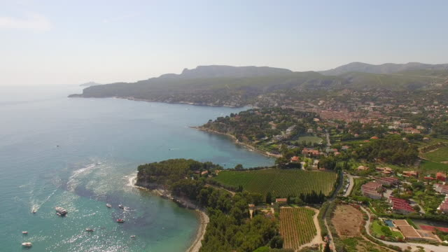 Aerial travel drone view of Cassis, Southern France.