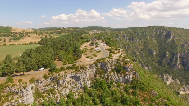 Aerial travel drone view of Gorges du Tarn and the Tarn River, Southern France.