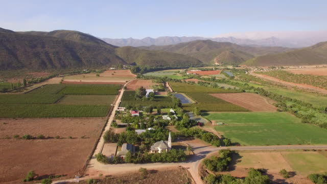Aerial travel drone view of Oudtshoorn, Western Cape, South Africa.