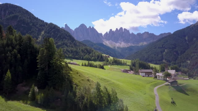 Aerial travel drone view of South Tyrol, Italy and the Dolomites mountains.